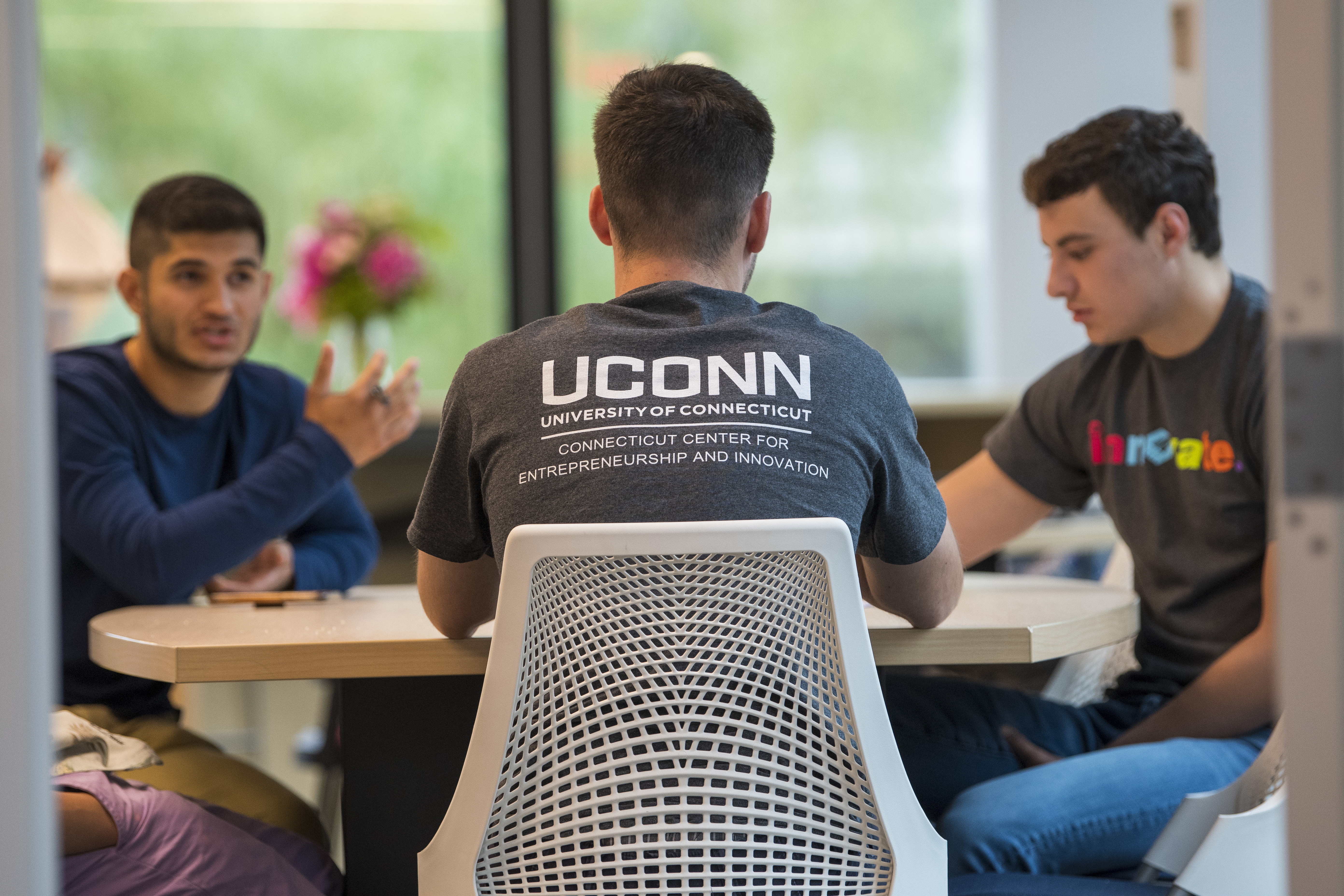 School of Business students at Connecticut Center for Entrepreneurship and Innovation CCEI in Hartford on June 18, 2019. (Sean Flynn/UConn Photo)
